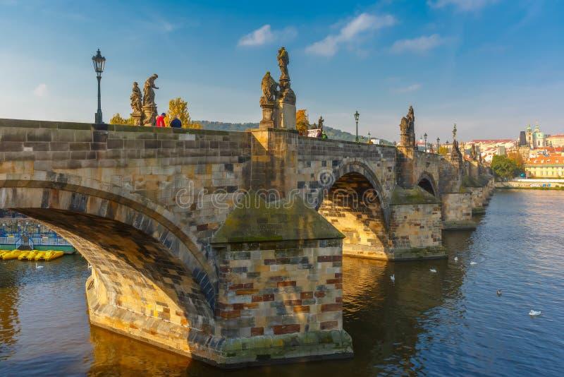 Charles Bridge at morning, Czech Republic royalty free stock photography