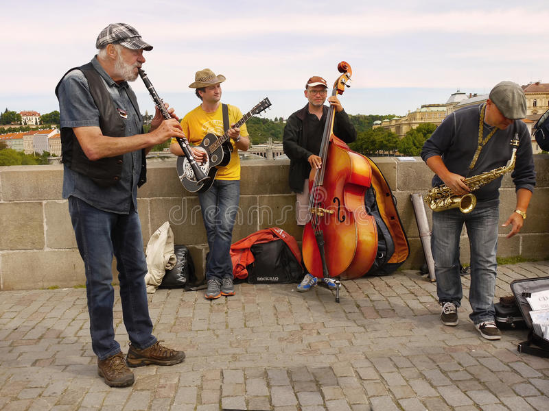 Charles Bridge, Musicians, Prague royalty free stock photography