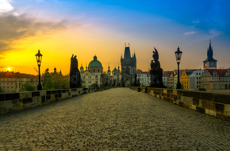 Charles Bridge and Old Town at sunrise royalty free stock photo