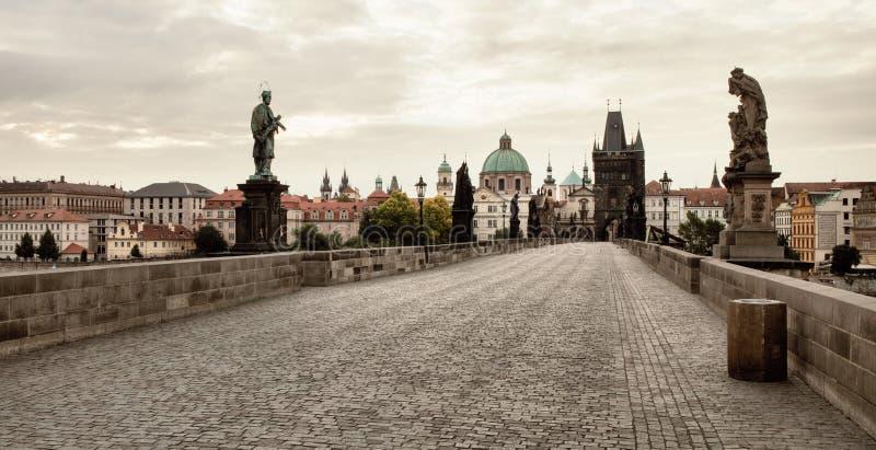 Charles Bridge in Praag stock afbeelding