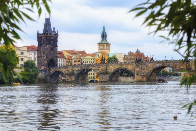 Charles Bridge Praag, Tsjechische Republiek royalty-vrije stock foto