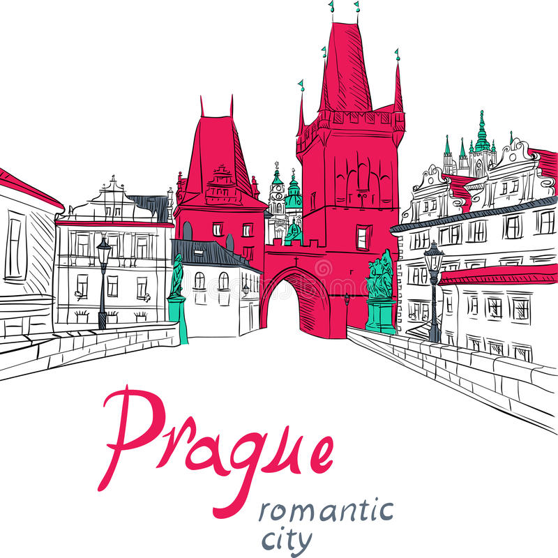 Download Charles Bridge in Prag vektor abbildung. Illustration von skizze - 47101511
