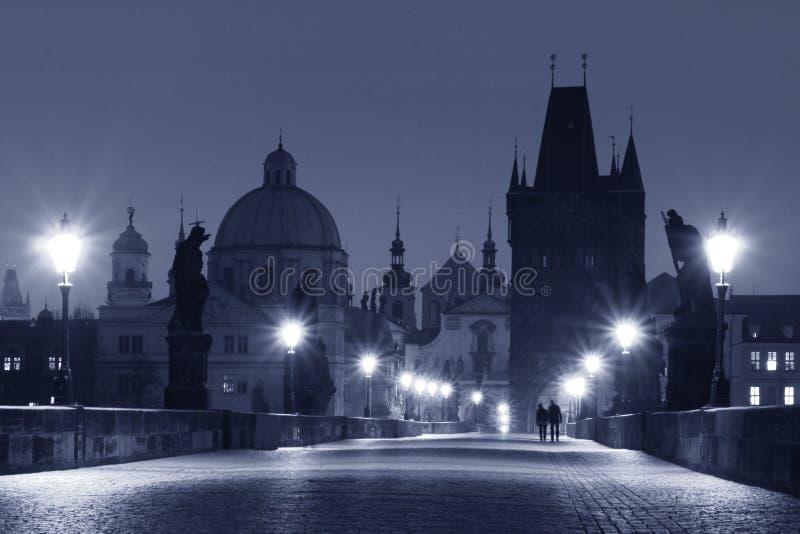 Charles Bridge (Prague). Prague - Charles Bridge in Early Morning (blue shading royalty free stock photo