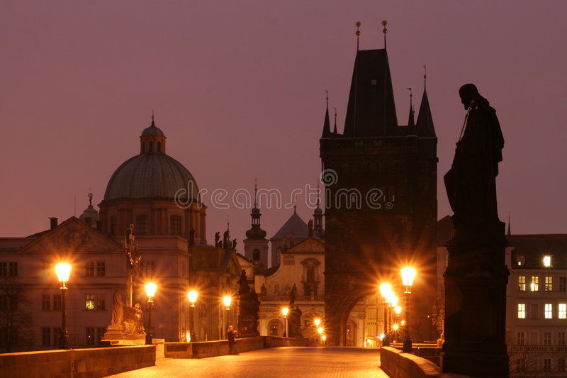 Charles Bridge (Prague). Prague - Charles Bridge in Early Morning royalty free stock image