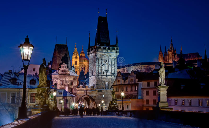 Charles bridge with Prague castle stock photo