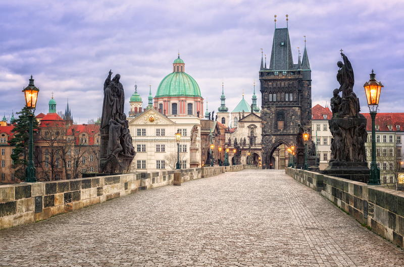 The Charles Bridge, Prague, Czech Republic. The Charles Bridge is a famous historic bridge that crosses the Vltava river in Prague, Czech Republic royalty free stock photography