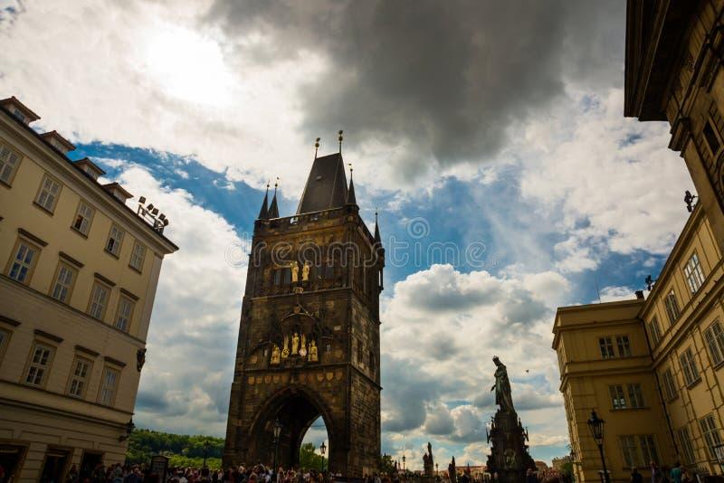 Charles bridge, Prague, Czech Republic: Lesser town bridge towers. Karluv Most. Beautiful view of Charles bridge stock image