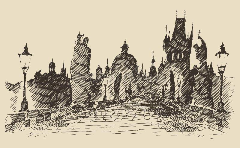 Charles Bridge Prague Czech Republic tappning royaltyfri illustrationer