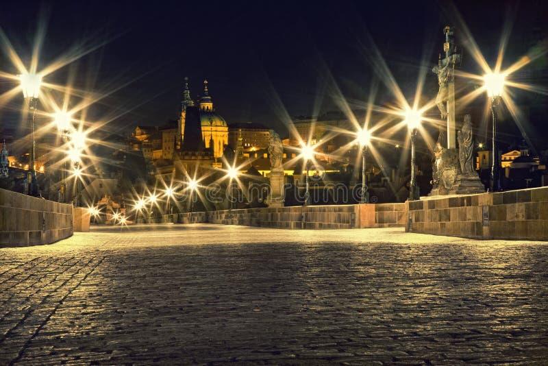 Download Charles Bridge In Prague With Lanterns Stock Photo - Image: 19686014