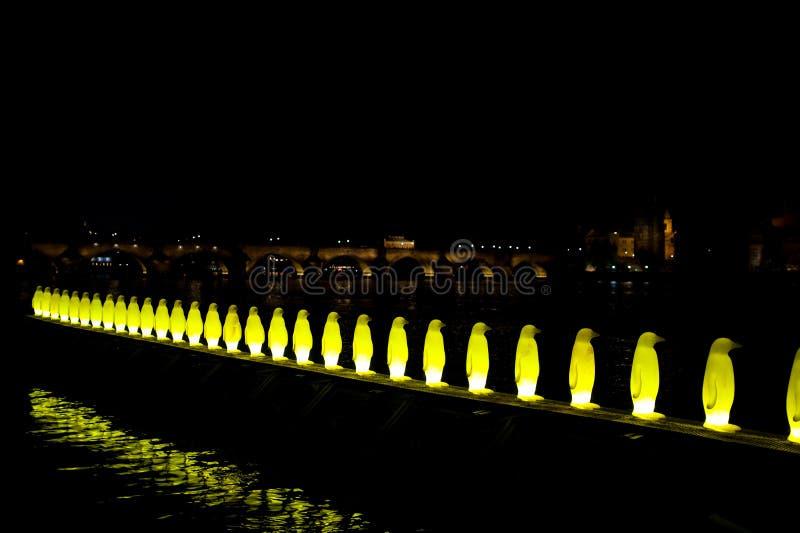 Charles Bridge Prague. The night view on the Charles Bridge - Prague CZ, from the Sovovy mlyny Kampa royalty free stock photo