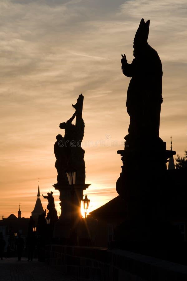Charles bridge statues royalty free stock photography
