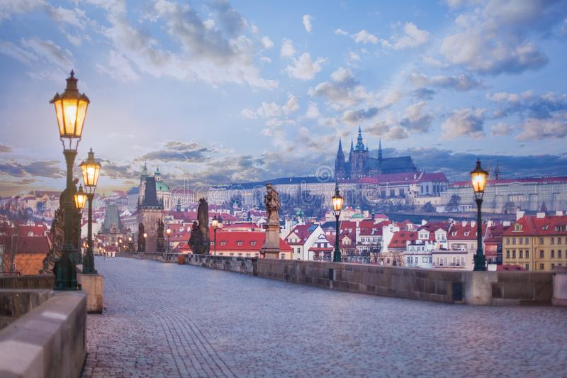 Charles bridge with statues, Prague tower and castle. Prague, Czech Republic royalty free stock photography
