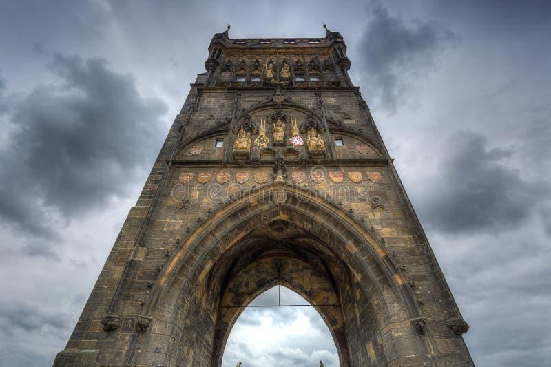Charles Bridge Tower em Praga, República Checa fotos de stock