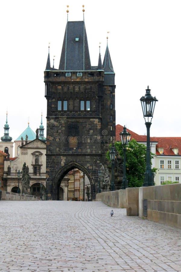 Charles Bridge Tower Prague stock foto