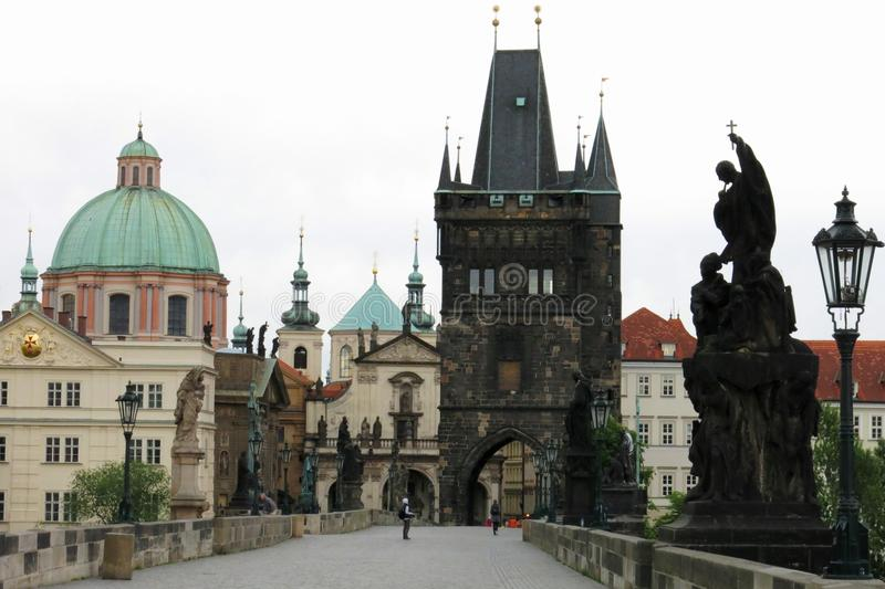 Charles Bridge Tower Prague stock fotografie