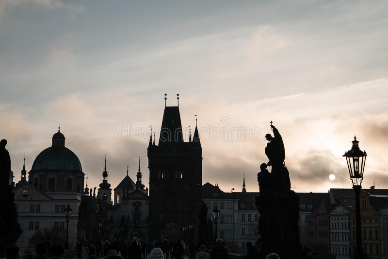 Charles Bridge view in early morning in Prague, Czech Republic - Fog and mist royalty free stock photos