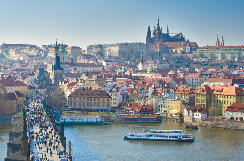Charles Bridge, Vltava, Charles Bridge, Praag royalty-vrije stock fotografie