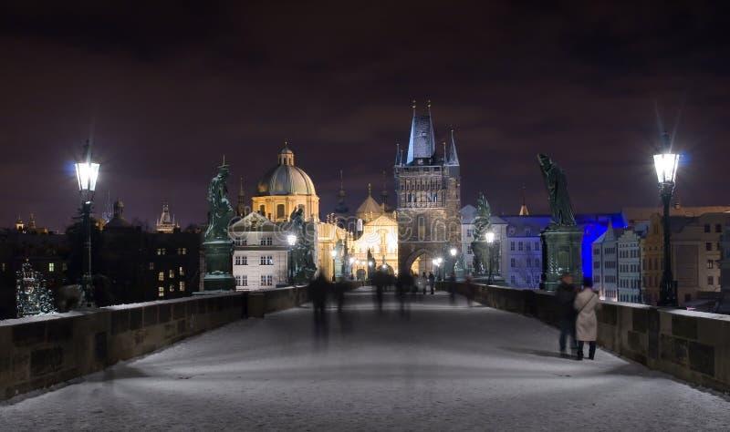 Charles Bridge in Winter Night, Prague, Czech Republic royalty free stock photos