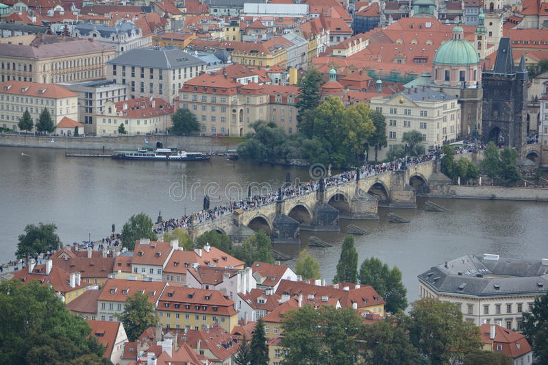 Charles Bridge aerial view, Prague, Czehia royalty free stock photos