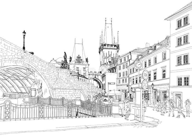 Charles bro - Prague, tjeckisk republik stock illustrationer