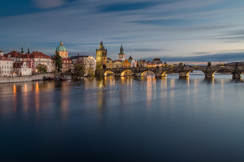 Charles-brug, Praag, Tsjechische Republiek stock foto's