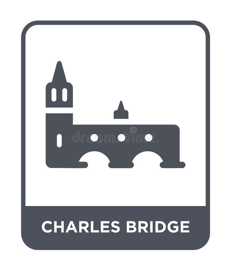 Charles-brugpictogram in in ontwerpstijl Charles-brugpictogram op witte achtergrond wordt geïsoleerd die Charles-eenvoudig brug v stock illustratie