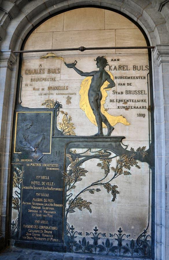 Charles Buls Monument Bryssel arkivbilder