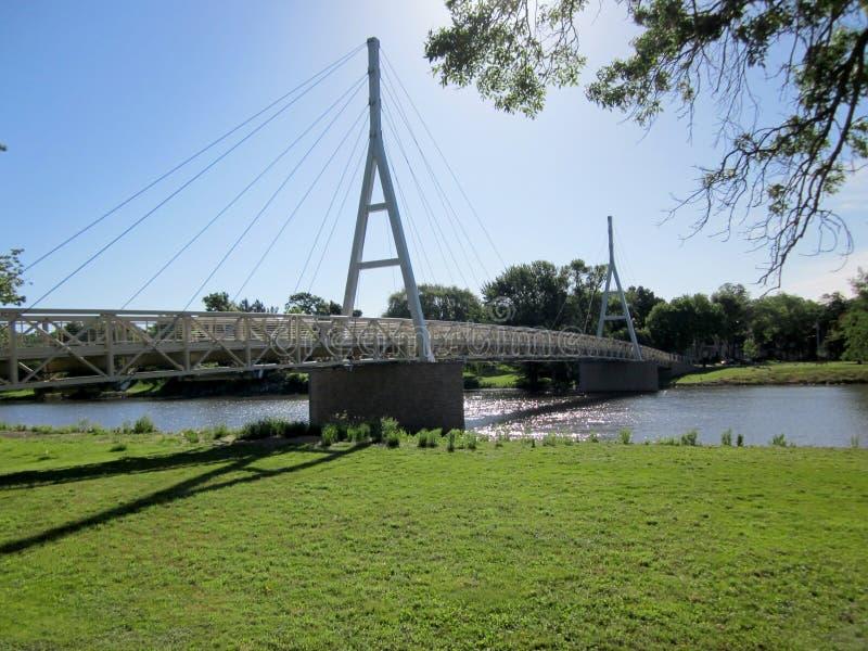 Download Charles City Iowa Suspension Bridge Stock Image - Image of traffic, wood: 41803053