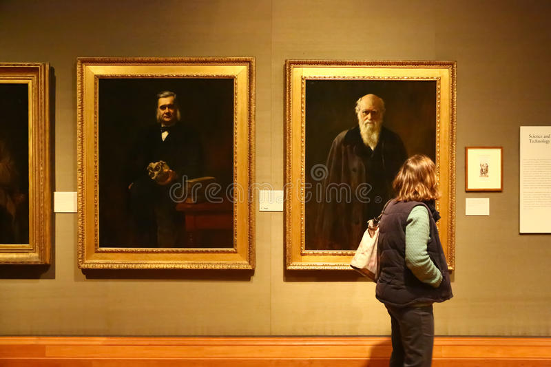 Charles Darwin dans National Portrait Gallery, Londres photos libres de droits