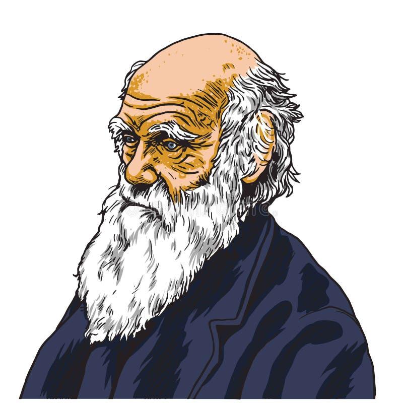Charles Darwin kreskówki karykatury portreta Wektorowa ilustracja Styczeń 27, 2019