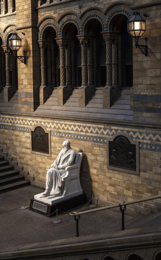 Charles Darwin Statue dans le musée d'histoire naturelle photo libre de droits