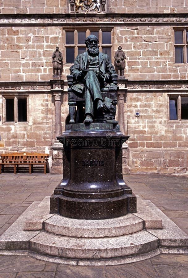 Charles Darwin statue, Shrewsbury, England. stock photography