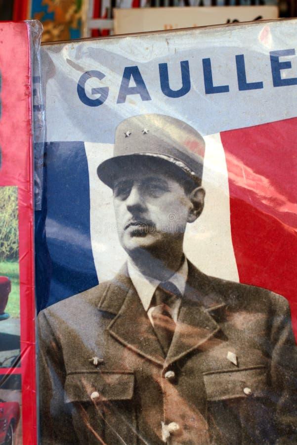 Charles de Gaulle-portret op een Oude boekdekking Parijs, Frankrijk stock fotografie