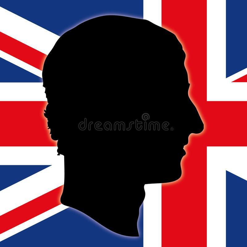 Charles della siluetta dell'Inghilterra con la bandiera del Regno Unito, illustrazione di vettore illustrazione di stock