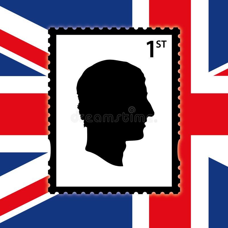 Charles della siluetta dell'Inghilterra nel telaio del bollo con la bandiera del Regno Unito, illustrazione di vettore illustrazione di stock