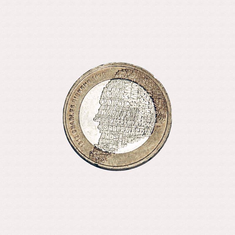 Charles Dickens £2 mynt royaltyfri bild