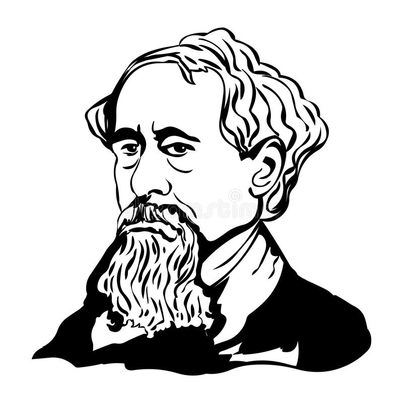 charles dickens Wektorowy portret Charles Dickens obrazy stock