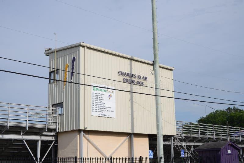 Charles Elam Press Box, campo atlético de Covington, Covington, TN fotografia de stock