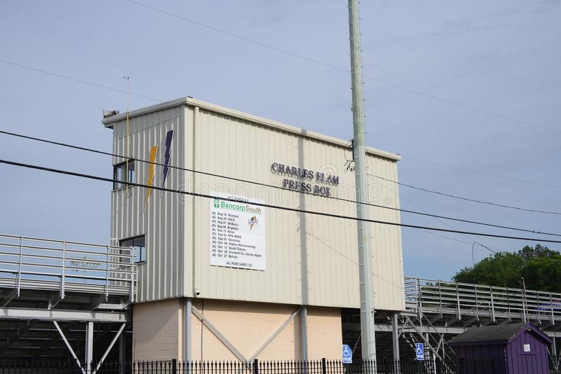 Charles Elam Press Box, champ sportif de Covington, Covington, TN photographie stock