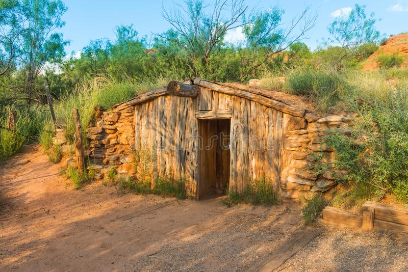 Charles Goodnight`s Original Dug-Out Cabin, Palo Duro Canyon State Park, TX royalty free stock image