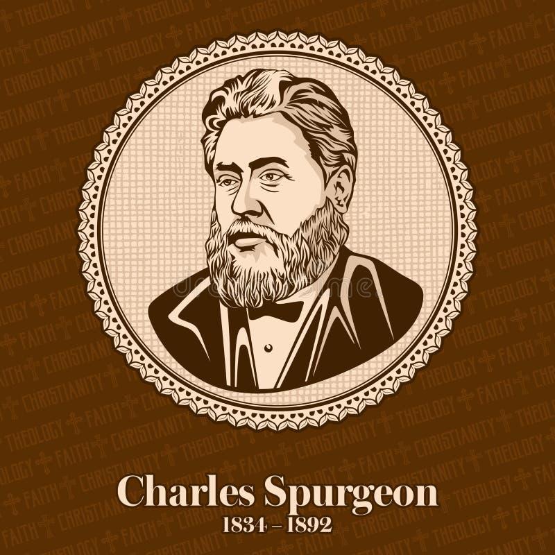 Charles Haddon Spurgeon 1834-1892 était un prédicateur baptiste particulier anglais illustration de vecteur