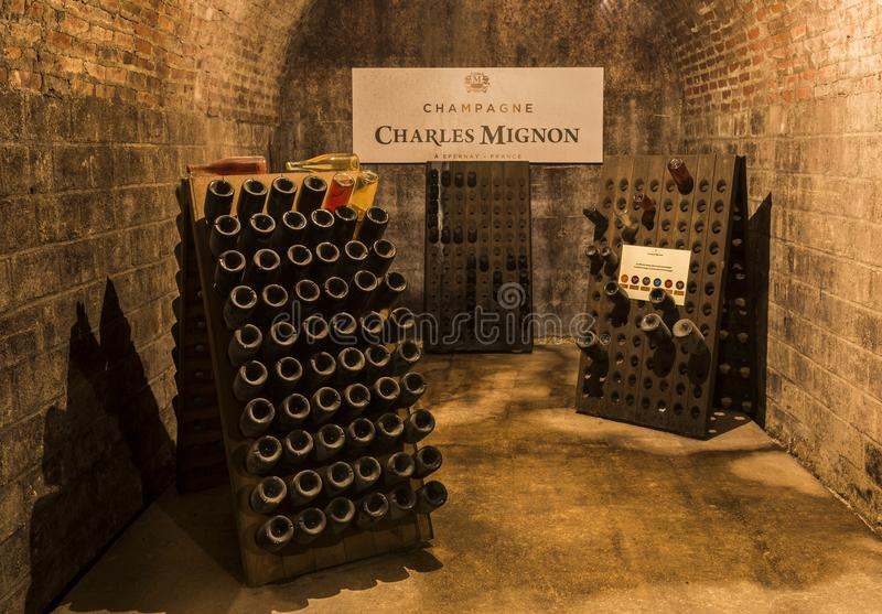 Charles Mignon Caves. Epernay, France - June 9, 2017: Caves of Champagne Charles Mignon in Epernay, France royalty free stock images