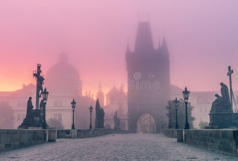 Charles most w Praga przy półmrokiem przy rankiem w mgle zdjęcia stock