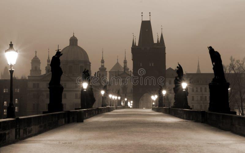 Charles Prague sepiowy mostu zdjęcia royalty free