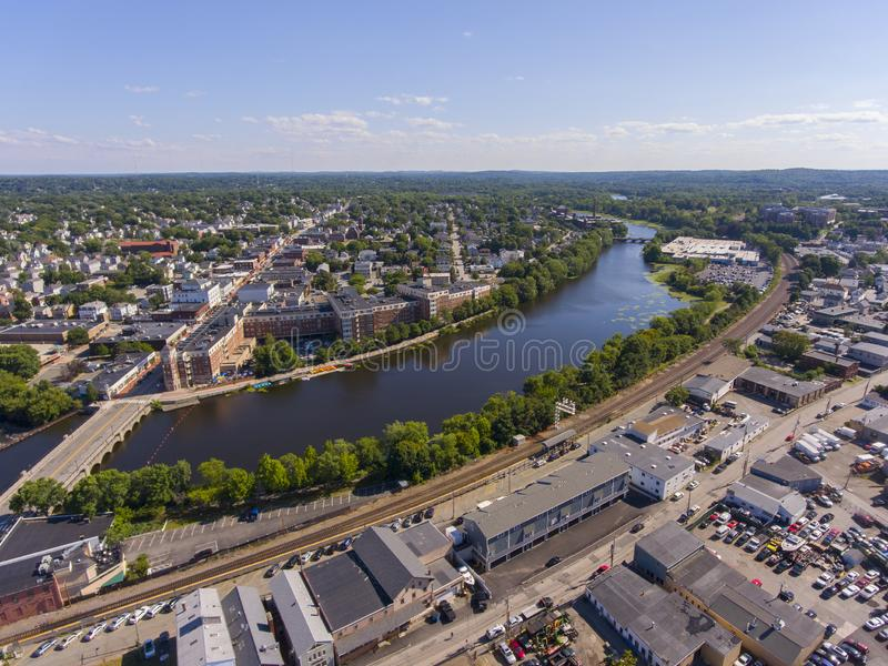 Charles River aerial view, Waltham, Massachusetts, USA. Charles River aerial view in downtown Waltham, Massachusetts, MA, USA stock photos