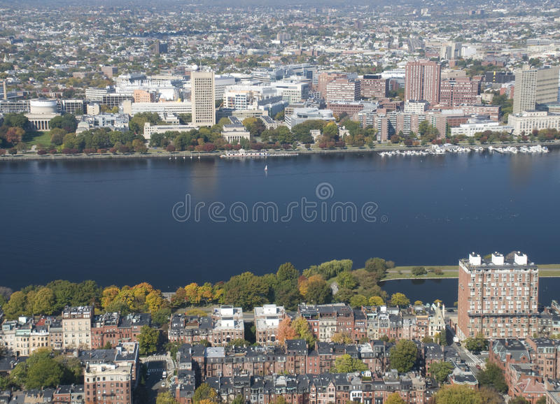 Charles River in Boston. In the Back Bay in the Fall royalty free stock photo
