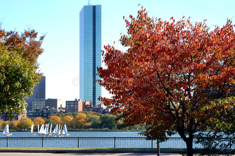 Charles River Boston. A view of Boston and the Charles river full of sailboats on a fall day stock image