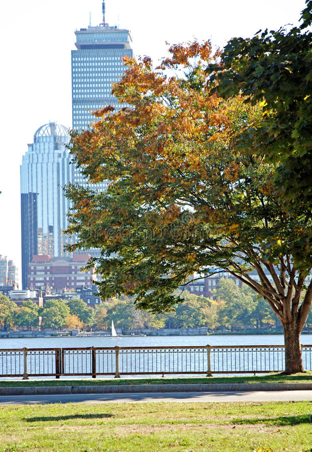 Charles River Boston. A view of Boston and the Charles river on a fall day royalty free stock photography