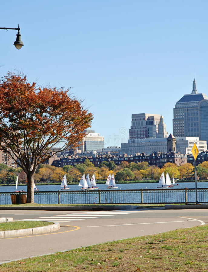 Charles River Boston. A view of Boston and the Charles river full of sailboats on a fall day royalty free stock photo