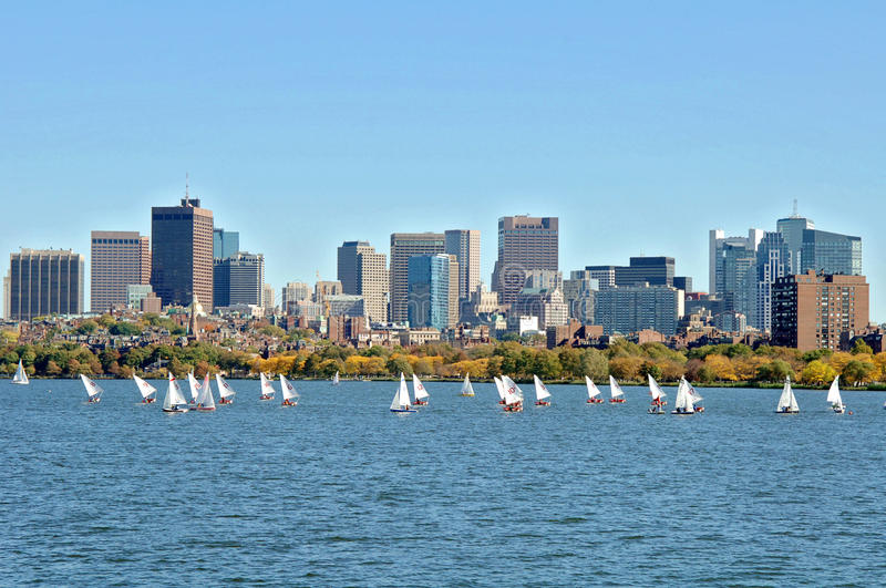 Charles River Boston. A view of Boston and the Charles river full of sailboats on a fall day royalty free stock images